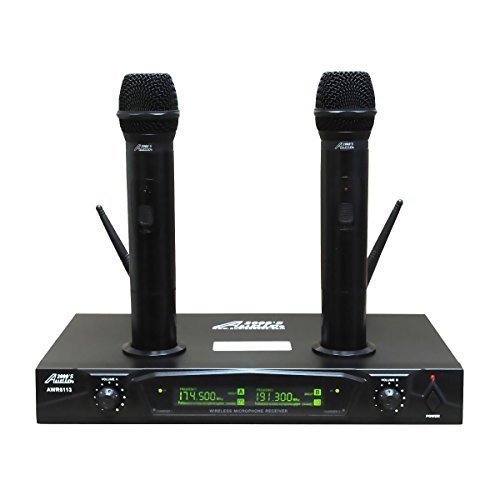 Audio 2000s AWM6113 Dual Channel Rechargeable VHF Wireless Microphone System (Rechargeable Dual Wireless Channel Microphone)