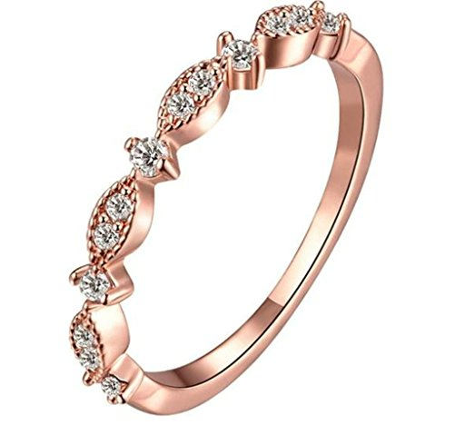 Aooaz Ladies Womens 18K Rose Gold Plated Ring, AAA Clear Cubic Zirconia Ring, Wedding Band Promise US (Dozen Doilies)
