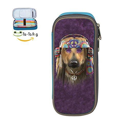 Big Capacity Canvas Pencil Bag Holder For Child ,Print Groovy Dog ,Blue