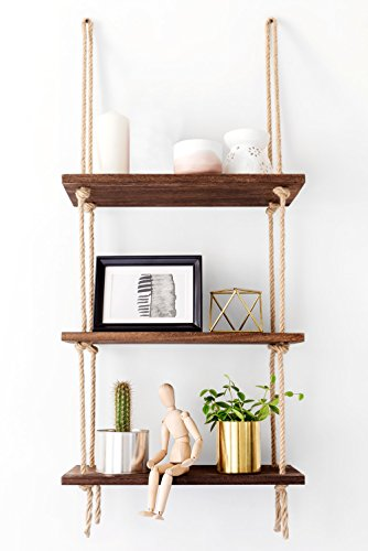 Mkono Wood Hanging Shelf Wall Swing Storage Shelves 3 Tier Jute Rope (Swing Frame Accent)