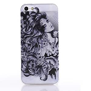 SUMCOM Semitransparent Retro Ink and Wash Painting Pattern Durable Hard Case for iPhone5/5S , White-Black