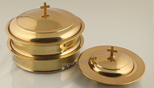 Brasstone   2 Communion Trays  For Glasses  With Lid And 1 Commuion Tray  For Bread  With Lid  Stainless Steel
