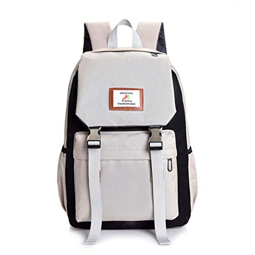 Willow S Female Students Large-Capacity Color Matching Computer Bag Travel Hiking Couple Backpack Schoolbag Gray ()