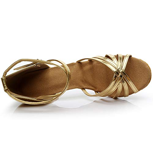 7cm Ballo Latino standard Scarpe Tacco Oro Ballo Lanskrlsp Donna sala Latino Da vAEqSWZ