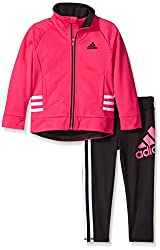 adidas Baby' Fashion Tricot Jacket and Pant Set, Onix, 3 Months