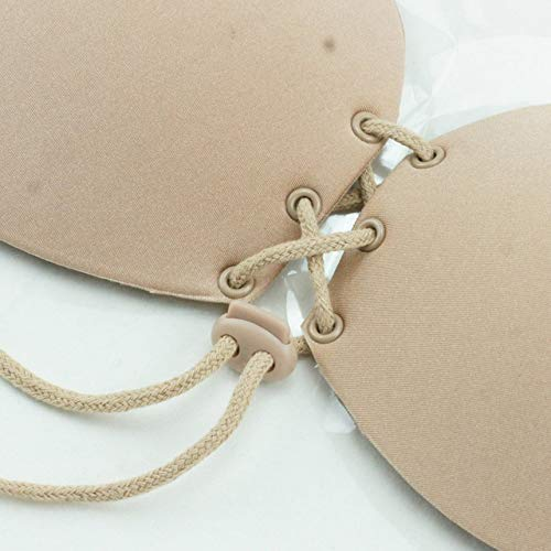 Silicone Invisible Thin Bra Natural Bio-Gel Silicone Bra with Adjustable Drawstring Reusable Breast Strapless Sticky for Women