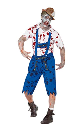 Simmia Halloween Costumes Halloween Men's Suspenders Cosplay British Workers Uniforms Farmer Zombies, 1607, M -