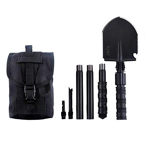 IUNIO Folding Shovel 31 inch Length Military Portable with Pickax Carrying Bag Multitool Spade for Camping Entrenching Car Emergency (Standard Black) - Entrenching Tool Shovel