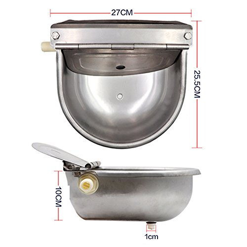 HomeYoo Water Bowl Scupper, 304 Stainless Steel Automatic Stock Waterer Horse Cattle Goat Sheep hog Pig Lamb Livestock Drinker Bowl (Silver) by HomeYoo (Image #6)