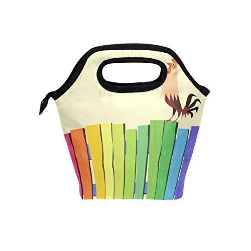 Florence Colorful Fence And Rooster Cooler Warm Pouch Lunch Bags Lunchbox For School Work Portable Meal Handbags Food Container Tote For Picnic