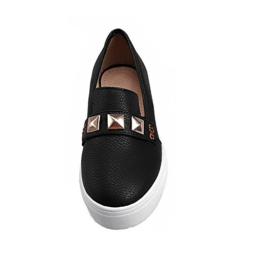 VogueZone009 Women's Low Heels Solid Pull-On Round Closed Toe Pumps-Shoes Black N15qDc