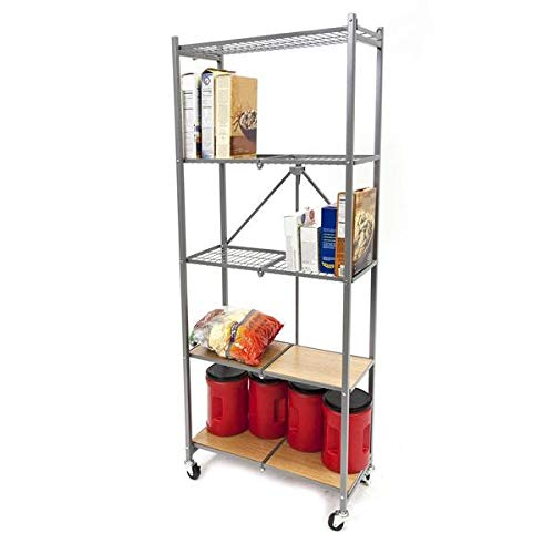 (Origami 5-Shelf Pantry Rack | Open Style, Organizer Slim Rack, Large Book shelf, Tall Bookcase, Kitchen shelving, Freestanding, No assembly/no tools required, Modern Vertical Furniture | Platinum)