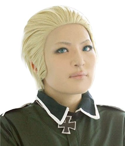 ANOGOL Hair Cap+Short Blonde Men's Cosplay Wig for Costume Party Halloween]()