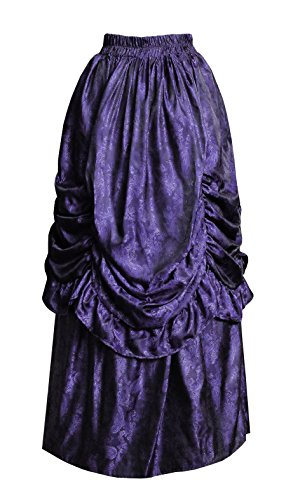 Cykxtees Victorian Steampunk Gothic Theater Bustle Long Paisley Skirt (Black/Purple) ()