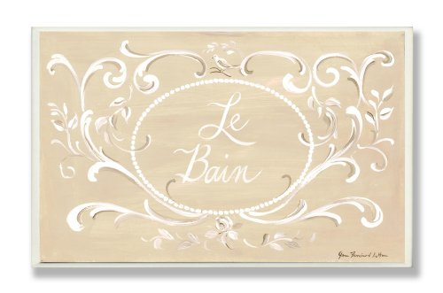 Le Bain Plaque - Stupell Industries Tan with White Scroll La Bain Rectangle Bath Plaque
