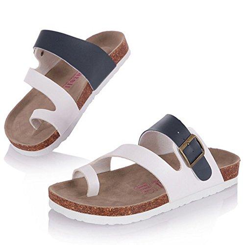 Sandales Toe 879 Split Slide Bleu Chaussures Mules Mode Hommes Plates TAOFFEN Ete Femmes qOwYpxI