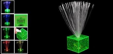 Forma Cubo de destello de la lámpara de fibra óptica Noche 6 color verde claro - - Amazon.com