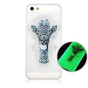 WQQ modelo de la jirafa de fluorescencia después de la caja trasera dura sunniness para el iphone 4 / 4s