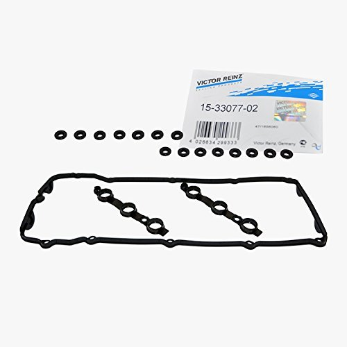 BMW Engine Valve Cover Gasket Set + 15 Grommet Seals Victor Reinz OEM 030496 (Engine Valve Seals)