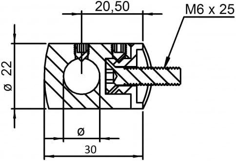 aus V2A Querstabhalter Anschluss flach f/ür Stab /ø 12 mm