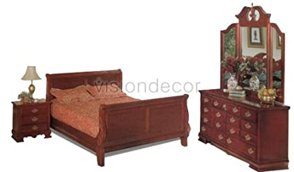 Amazon.com - Queen Size Carved Bedroom Set with Sleigh Bed ...