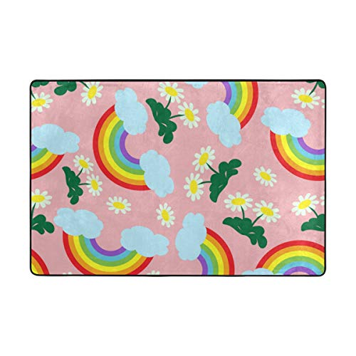 (Vantaso Area Rugs Soft Foam Rainbow and Floral Pink Non Slip 36x24 inch Playmats for Kids Boys Girls Playing Room Living Room)