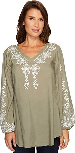 Scully Women's Cleo Embroidered Top Sage Small