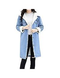 Women's Thicken Warm Faux Fleece Denim Coat, JMETRIE Blue Jean Jacket Punk Long Outwear