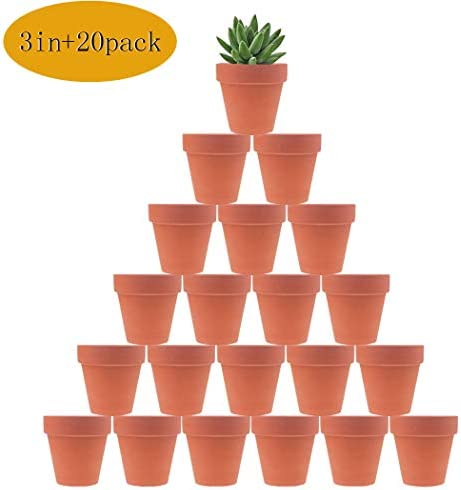 20 Pcs 3 Terracotta Clay Pots Pack of Small Craft Nursery Cactus Pot Water Permeable Succulent Plant Pottery Planter DIY Home Office Desktop Windowsill Ornament Decoration Wedding