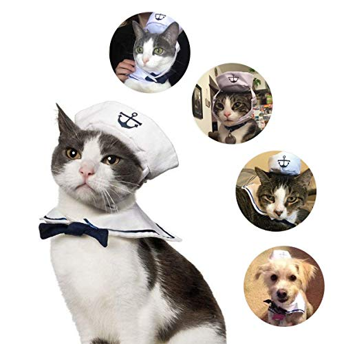 Halloween Hats For Cats (Enjoying Pet Sailor Party Costume Adjustable Tie Collar Navy Dog Hat Cat Sailor Outfit for Halloween,)