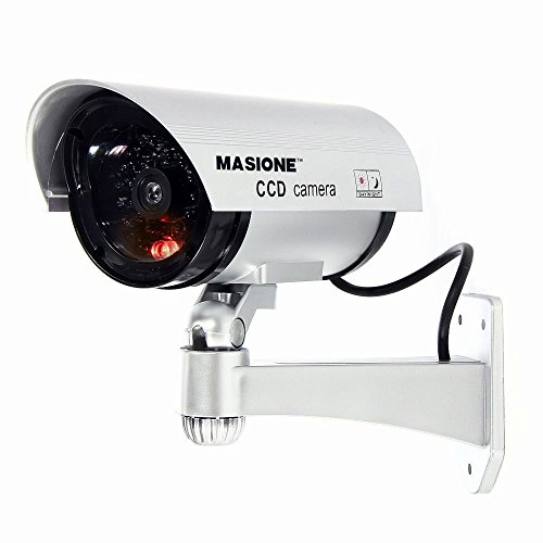 Masione Simulated Surveillance Cameras - New Wireless IP Camera Security Surveillance fake Dummy IR LED cameras - Night/Day Vision Look Bullet CCD CCTV Imitation Dummy Camera - Weatherproof bullet housing, multiple Flashing Blinking Red infrared LEDs, Indoors or Outdoors,Home or Depot!(Silver) (Cctv Ccd Camera)