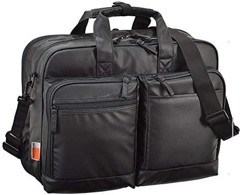 平野鞄 ビジネスバッグ ショルダーバッグ メンズ ブリーフケース B4 2室式 ビジネス トラベルバッグ 男性用 軽量 ショルダー付き 2way 出張 通勤 黒 ブラック 横幅42cm +オリジナル高級ムートングローブ
