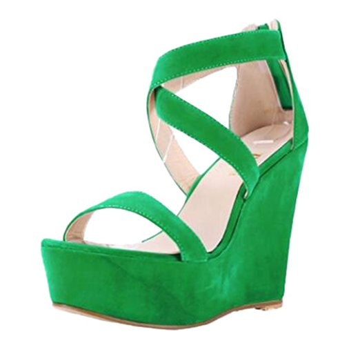 Dovaly Women Sandals Fashion Wedge Cross Strap Suede Platform Sexy Big Size 35-62 High Heels
