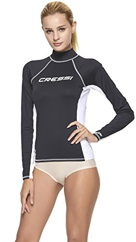 Cressi Rash Guard Long Camiseta Corta y Manga Larga en Tejido elástico, Mujer, Negro/Blanco, S/2 (38)