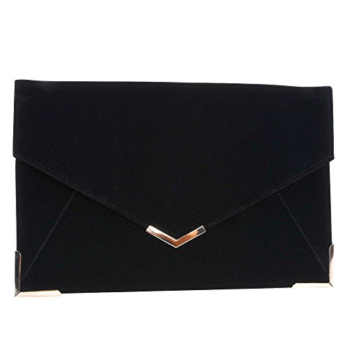 Velvet Envelope Clutch Large Evening Bag Women Bag Metal-Trim Shoulder Bag,Wedding Clutch Bag Purse (Black) Lined Suede Shoulder Bag