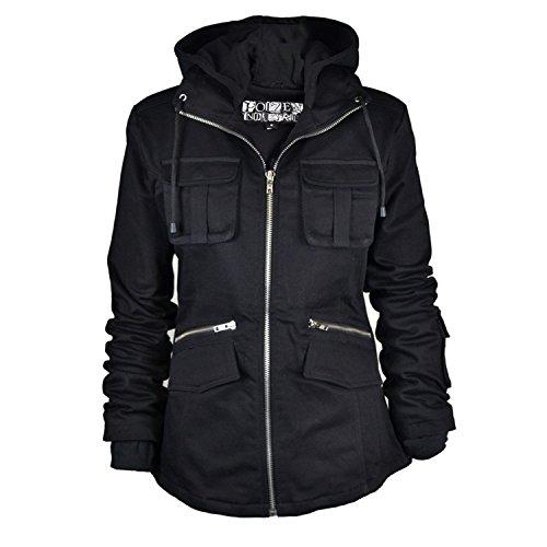 Poizen Industries Damen Mantel Schwarz schwarz 3-5 Jahre to 10-12 Jahre