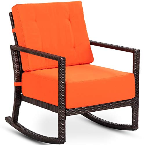 - FDInspiration Classic Patio Outdoor Brown PE Rattan Rocking Chair Curved Slat Garden Furniture Seat Armchair Rocker w/Orange Cushions with Ebook