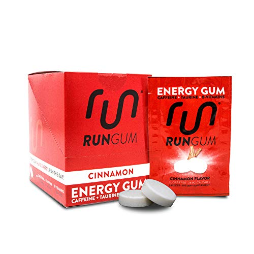 - RUN GUM Cinnamon Energy Gum 50mg Caffeine Taurine & B-Vitamins Per Piece, 24 Pieces (Pack of 12), 2 Pieces = 1 Coffee or Energy Drink, Sugar Free, Zero Calorie
