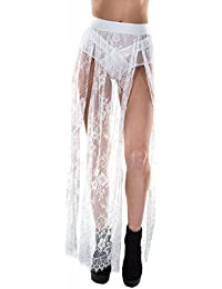Women's Stretchy Sheer Mesh and Lace Long Side Slit Maxi Skirts