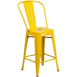 Flash Furniture 24'' High Yellow Metal Indoor-Outdoor Counter Height Stool with Back