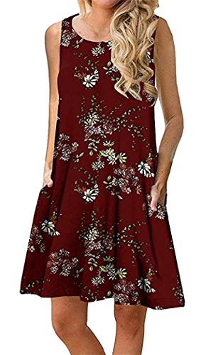 Boho Tshirt Dresses for Women Beach Casual Sleeveless Floral Shift Pockets Swing Loose Damask(XL,Wine Red)