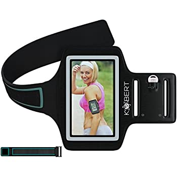 Kobert Sports Fitness Exercise Armband, Key Pocket, Extender - for Iphone 6 5 5s 5c 4s & Samsung Galaxy S5 S4 - Keeps Phone Safe when Running Cycling