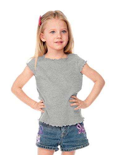 Kavio! Little Girls 3-6X Lettuce Edge Scoop Neck Cap Sleeve Top Heather Gray 6X