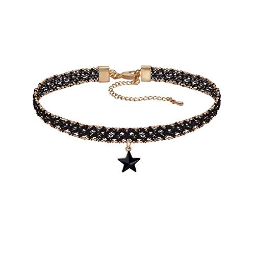 DORAFO Choker Necklaces for Women Lace Choker for Girls with Black Star Pendant Charm Jewelry (7)