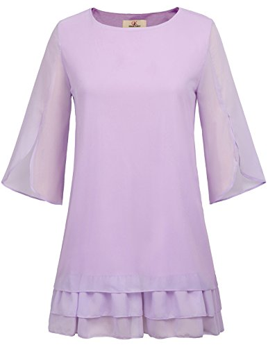 GRACE KARIN Simple Plain 3/4 Ruffle Sleeve Chiffon Blouse T-Shirt Tops Size 2XL Light Purple Simple Half Sleeve