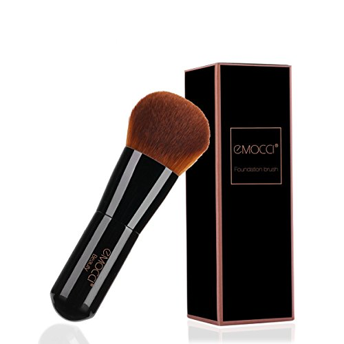 Flat Makeup Kabuki Brush Professional Make Up Face Foundation Stippling Concealer Brushes for Liquid Powder BB Cream Blending Mineral Beauty Tools Gift Set(Black) -