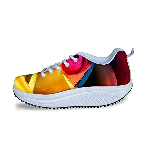 Women's Platform Stylish HUGSIDEA Ups Flower Sneaker Walking Print flowe3 Shape Rose RwIWCwnx