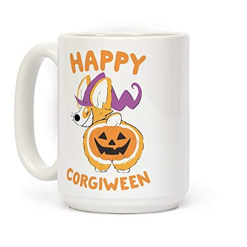 LookHUMAN Happy Corgiween! White 15 Ounce Ceramic Coffee Mug -