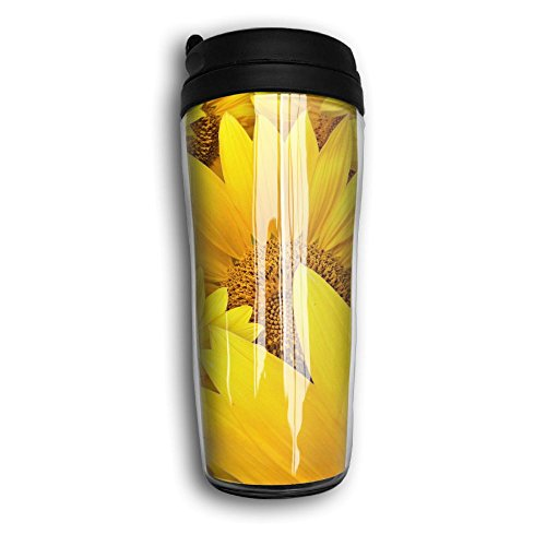 Reusable Coffee Mug, Sunflowers Rustic Print Milk Tea Drinking Water Bottle Coffee Mug Carry Hand Cup Reusable Plastic Curve Travel Mug Coffee Tumbler For Women Men Kids Teens Adults Fathers Day Gifts