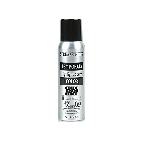 Streaks N Tips Midnight Black Temporary Spray-on Hair Color, ...